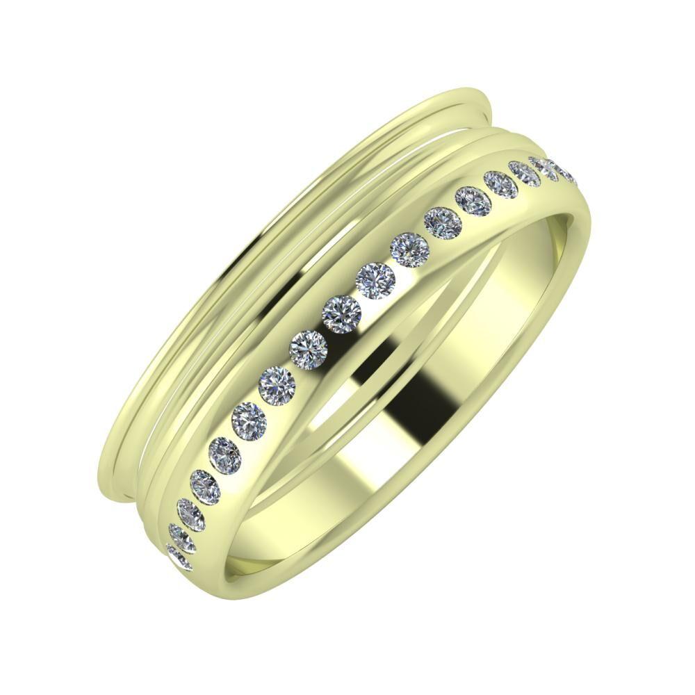 Agrippína - Aida - Aldea 6mm 14 karátos zöld arany karikagyűrű