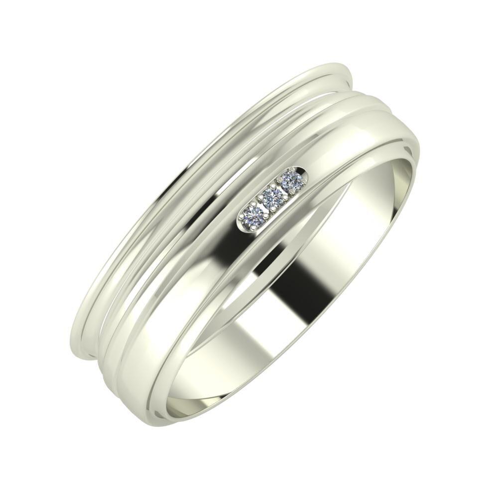 Agrippína - Aida - Aleszja 6mm 14 karátos fehér arany karikagyűrű