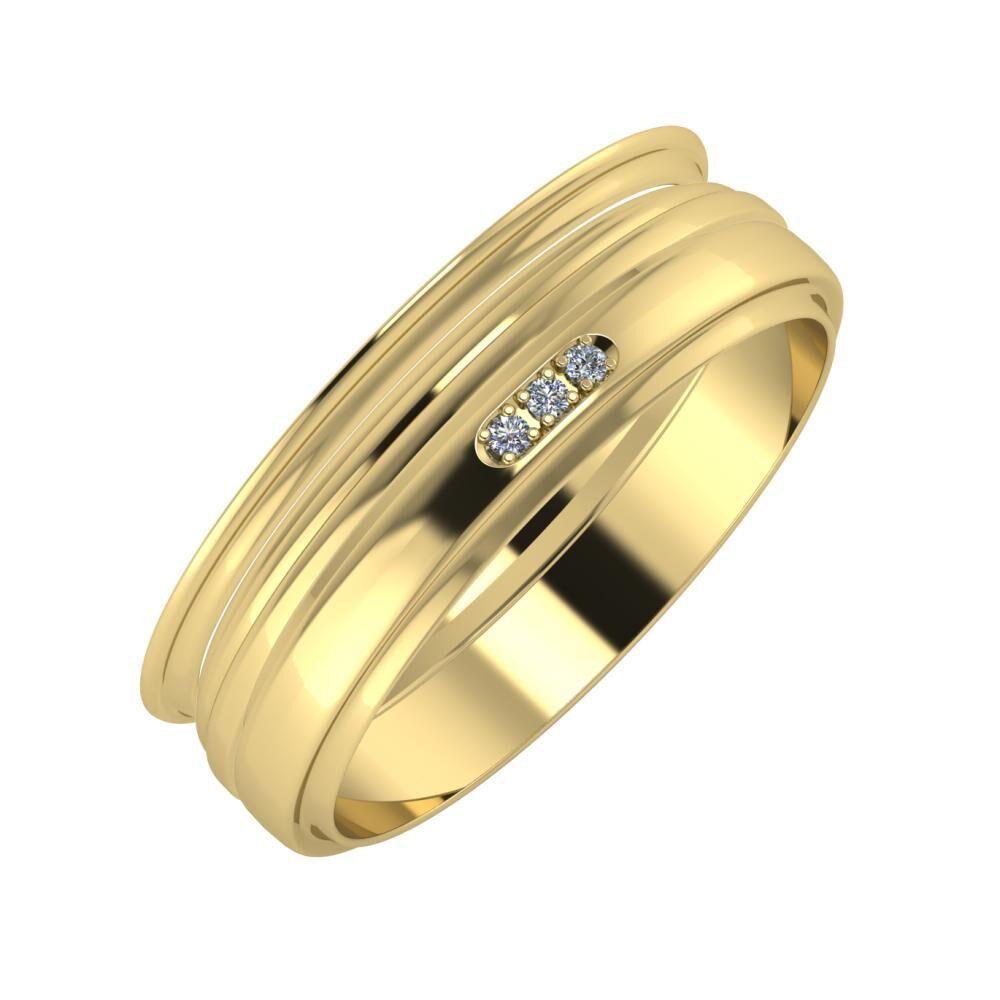 Agrippína - Aida - Aleszja 6mm 14 karátos sárga arany karikagyűrű