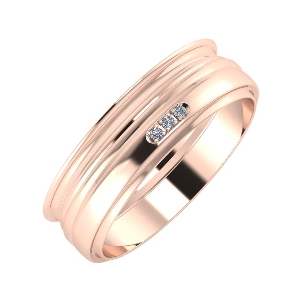 Agrippína - Aida - Aleszja 6mm 14 karátos rosé arany karikagyűrű