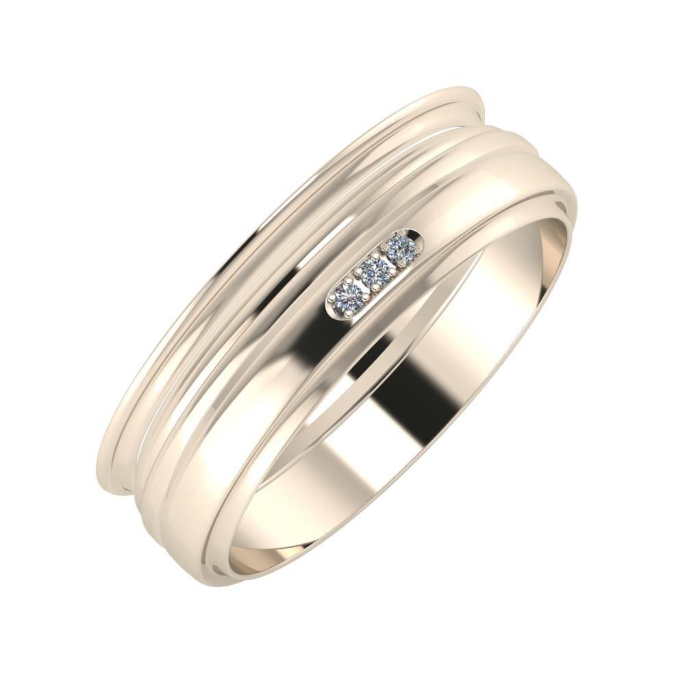 Agrippína - Aida - Aleszja 6mm 22 karátos rosé arany karikagyűrű