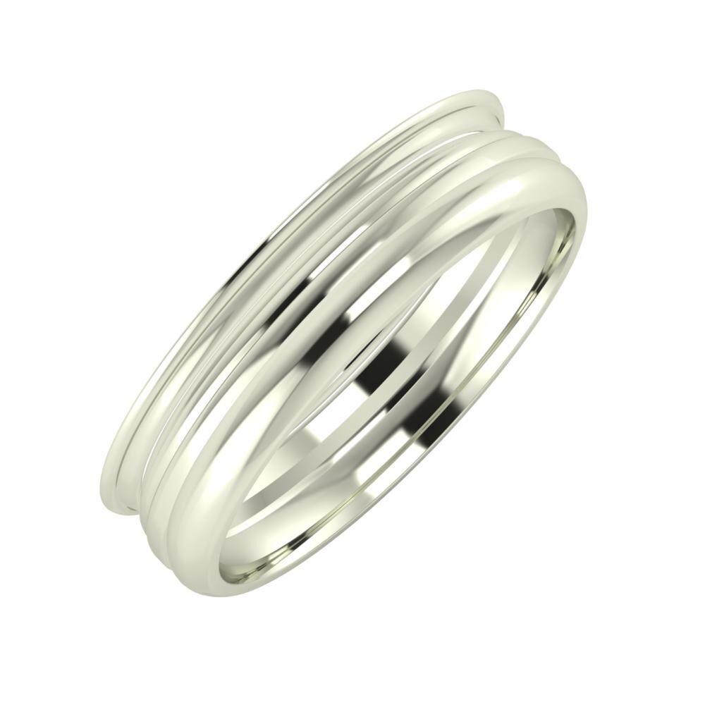 Agrippína - Aida - Alett 5mm 18 karátos fehér arany karikagyűrű
