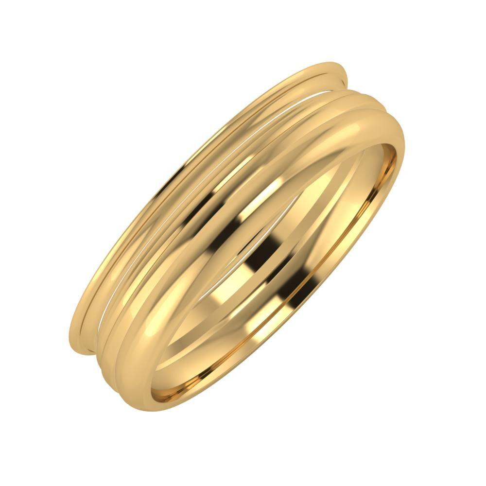 Agrippína - Aida - Alett 5mm 18 karátos sárga arany karikagyűrű