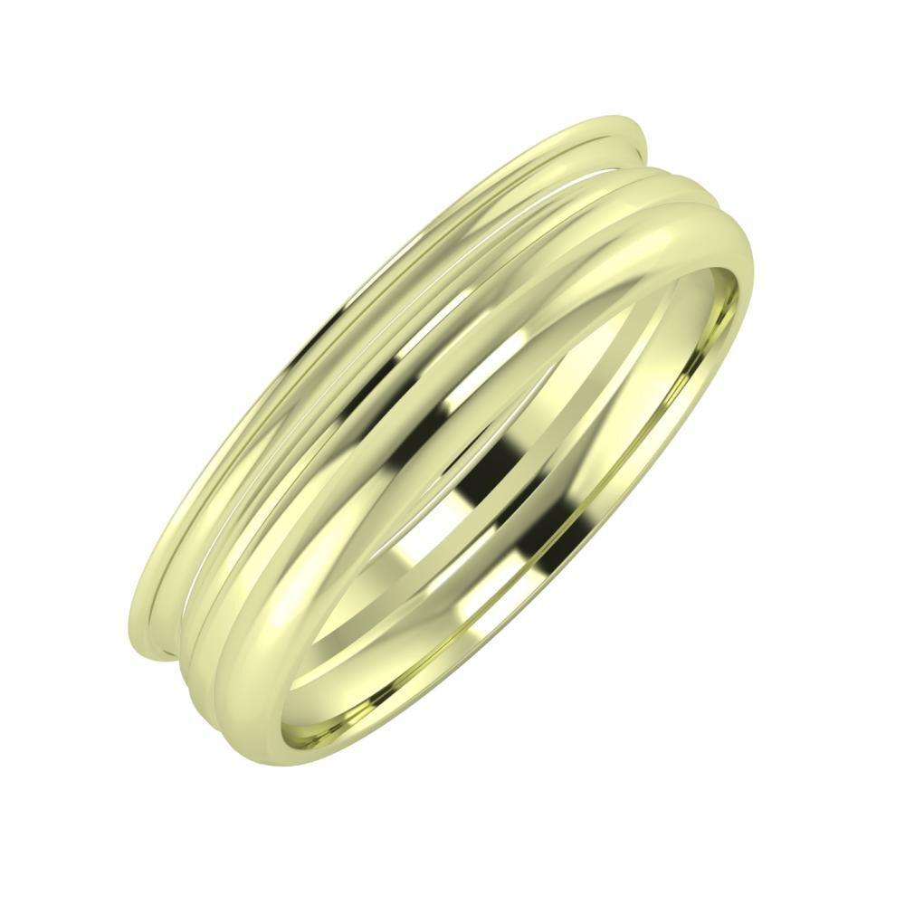 Agrippína - Aida - Alett 5mm 14 karátos zöld arany karikagyűrű