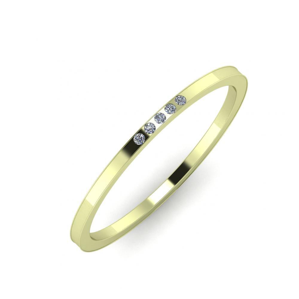 Agrippína - Ainó - Adelaida 5mm 14 karátos zöld arany karikagyűrű