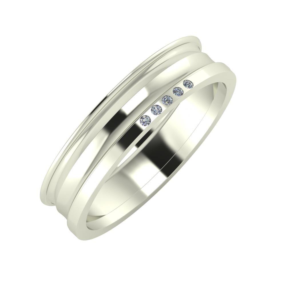 Agrippína - Ainó - Adelgunda 5mm 14 karátos fehér arany karikagyűrű