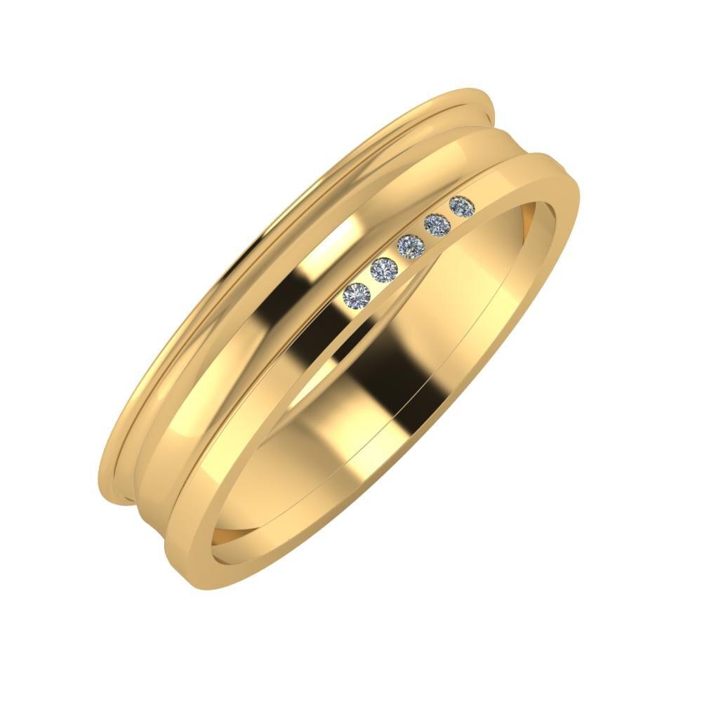 Agrippína - Ainó - Adelgunda 5mm 18 karátos sárga arany karikagyűrű