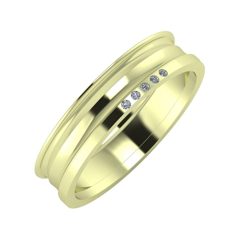 Agrippína - Ainó - Adelgunda 5mm 14 karátos zöld arany karikagyűrű