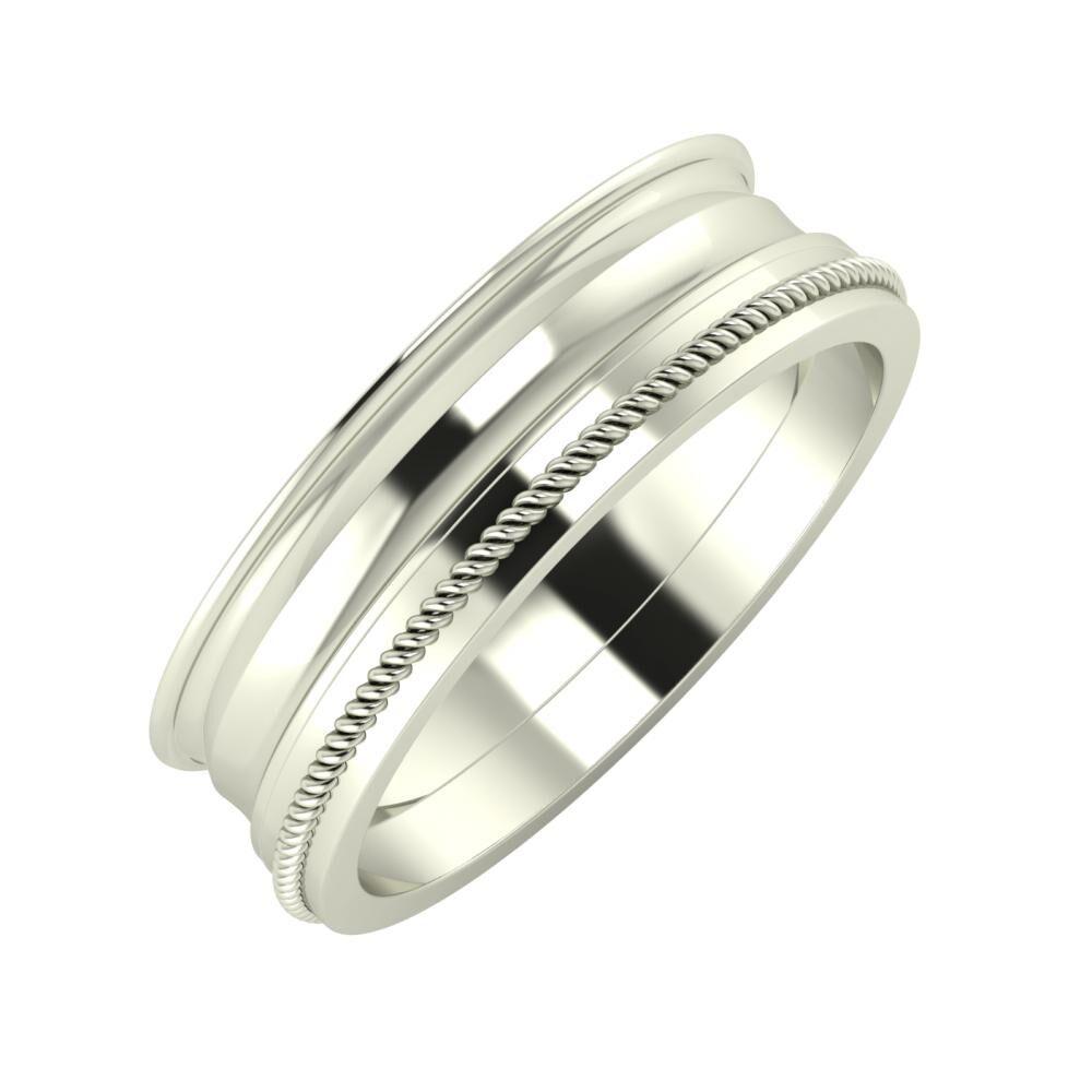 Agrippína - Ainó - Afrodité 6mm 14 karátos fehér arany karikagyűrű
