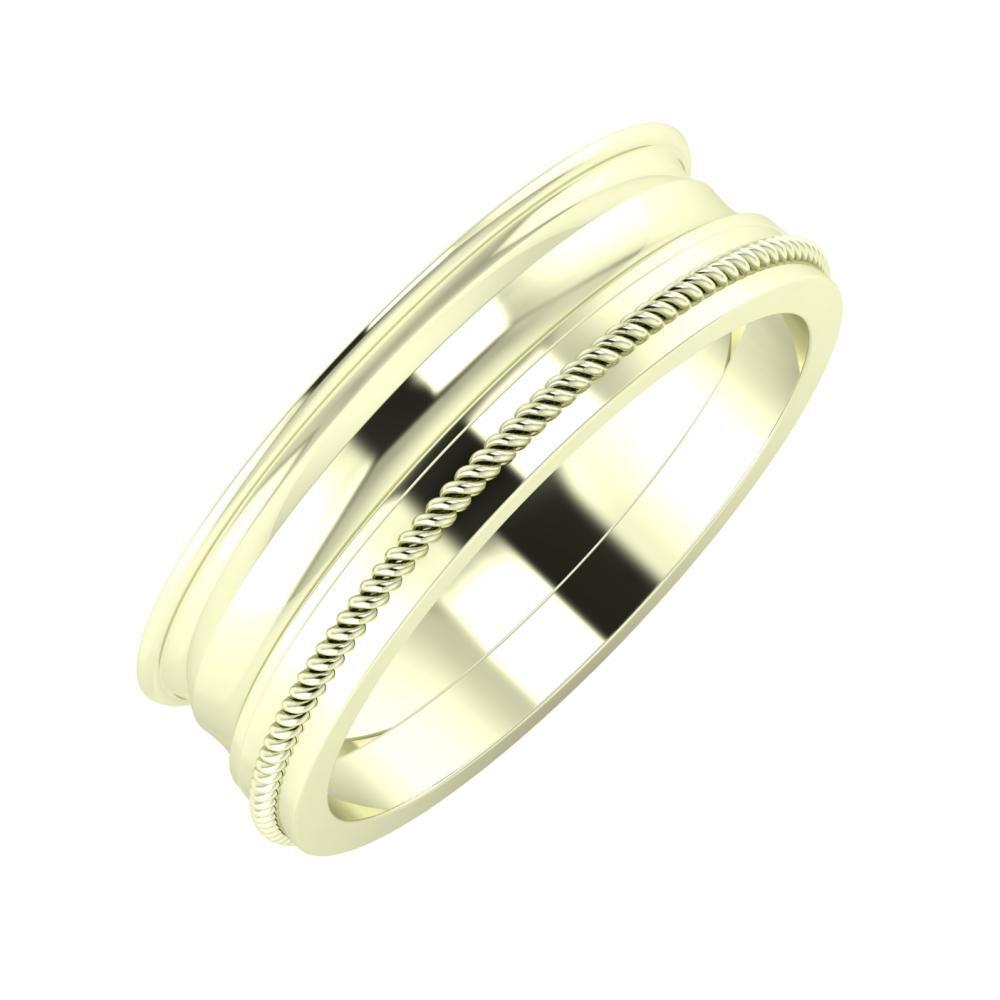 Agrippína - Ainó - Afrodité 6mm 22 karátos fehér arany karikagyűrű