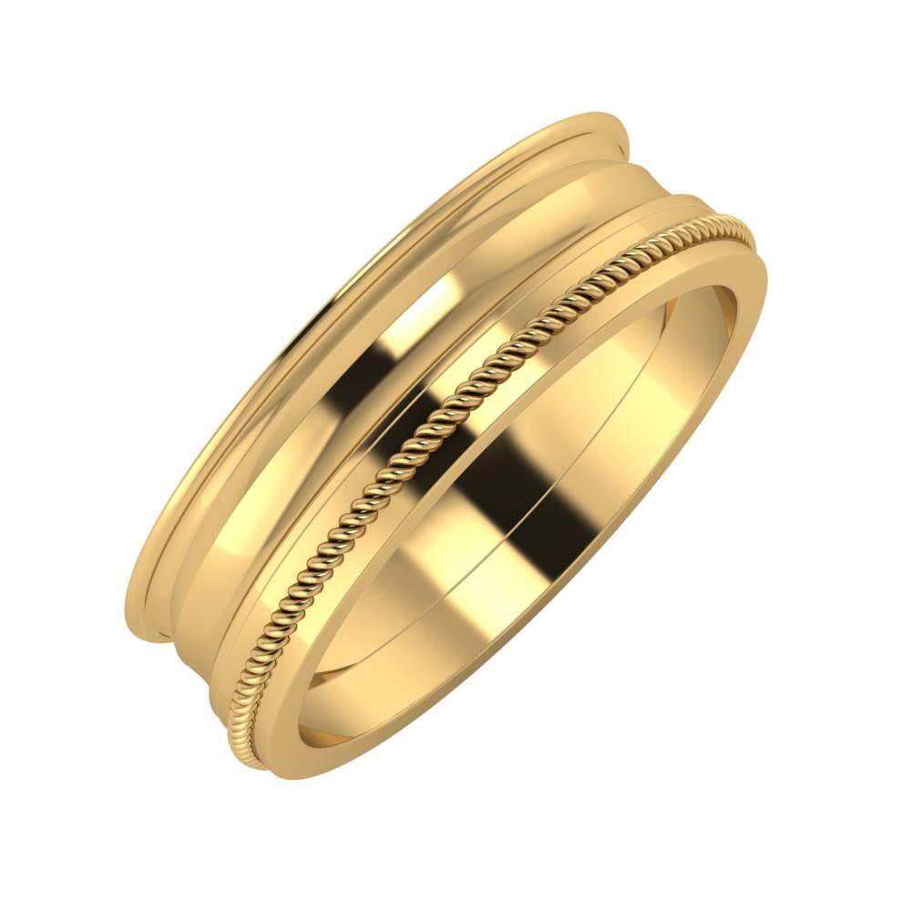 Agrippína - Ainó - Afrodité 6mm 22 karátos sárga arany karikagyűrű