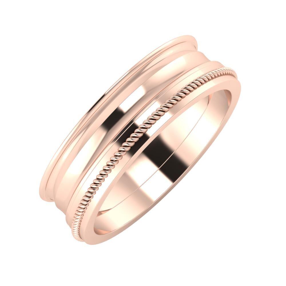 Agrippína - Ainó - Afrodité 6mm 14 karátos rosé arany karikagyűrű