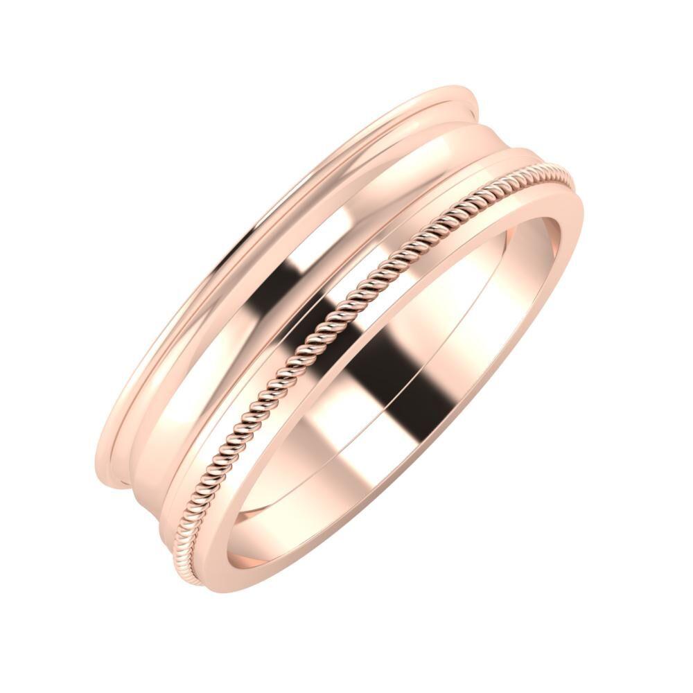 Agrippína - Ainó - Afrodité 6mm 18 karátos rosé arany karikagyűrű