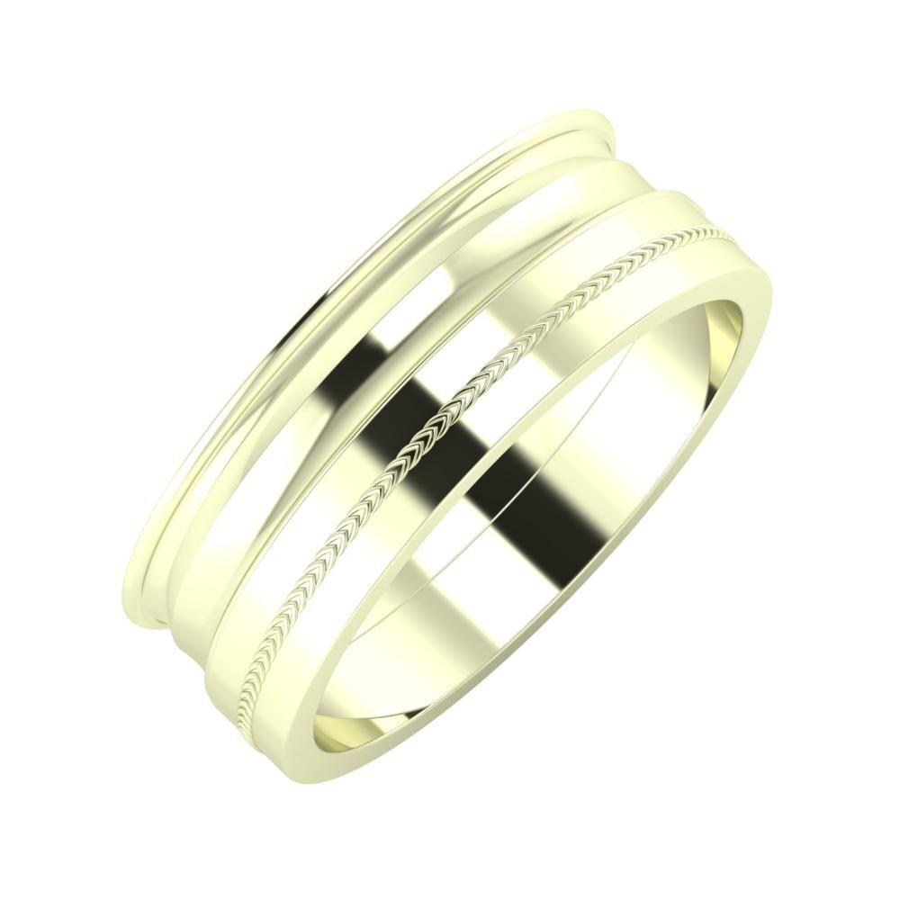 Agrippína - Ainó - Agáta 7mm 22 karátos fehér arany karikagyűrű