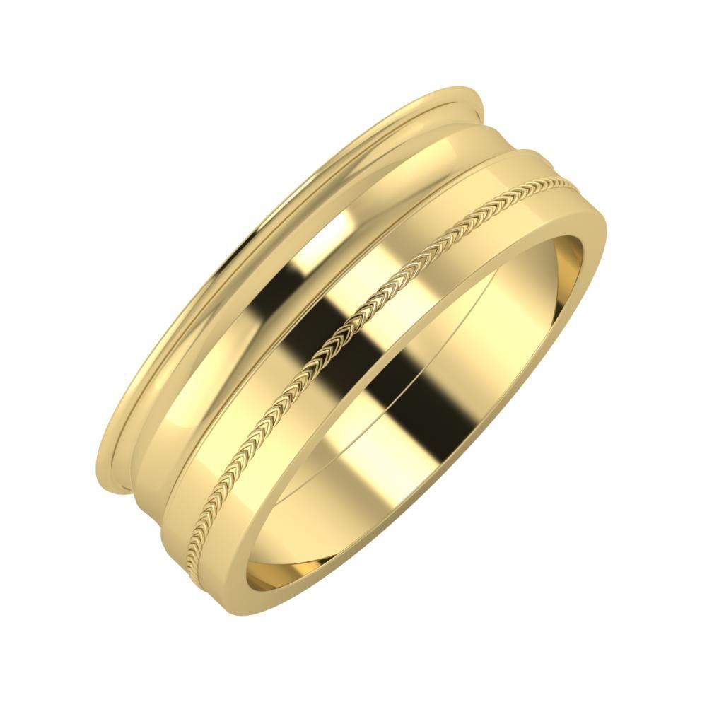 Agrippína - Ainó - Agáta 7mm 14 karátos sárga arany karikagyűrű