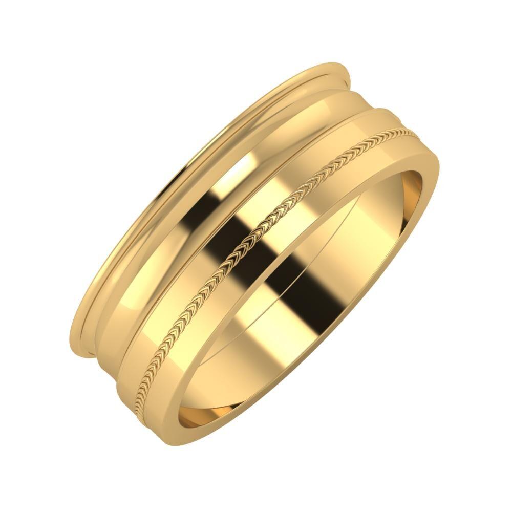 Agrippína - Ainó - Agáta 7mm 22 karátos sárga arany karikagyűrű