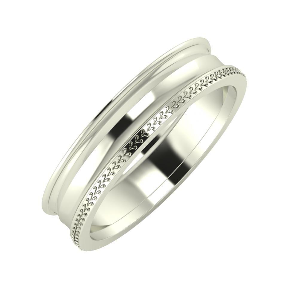 Agrippína - Ainó - Aglája 5mm 14 karátos fehér arany karikagyűrű