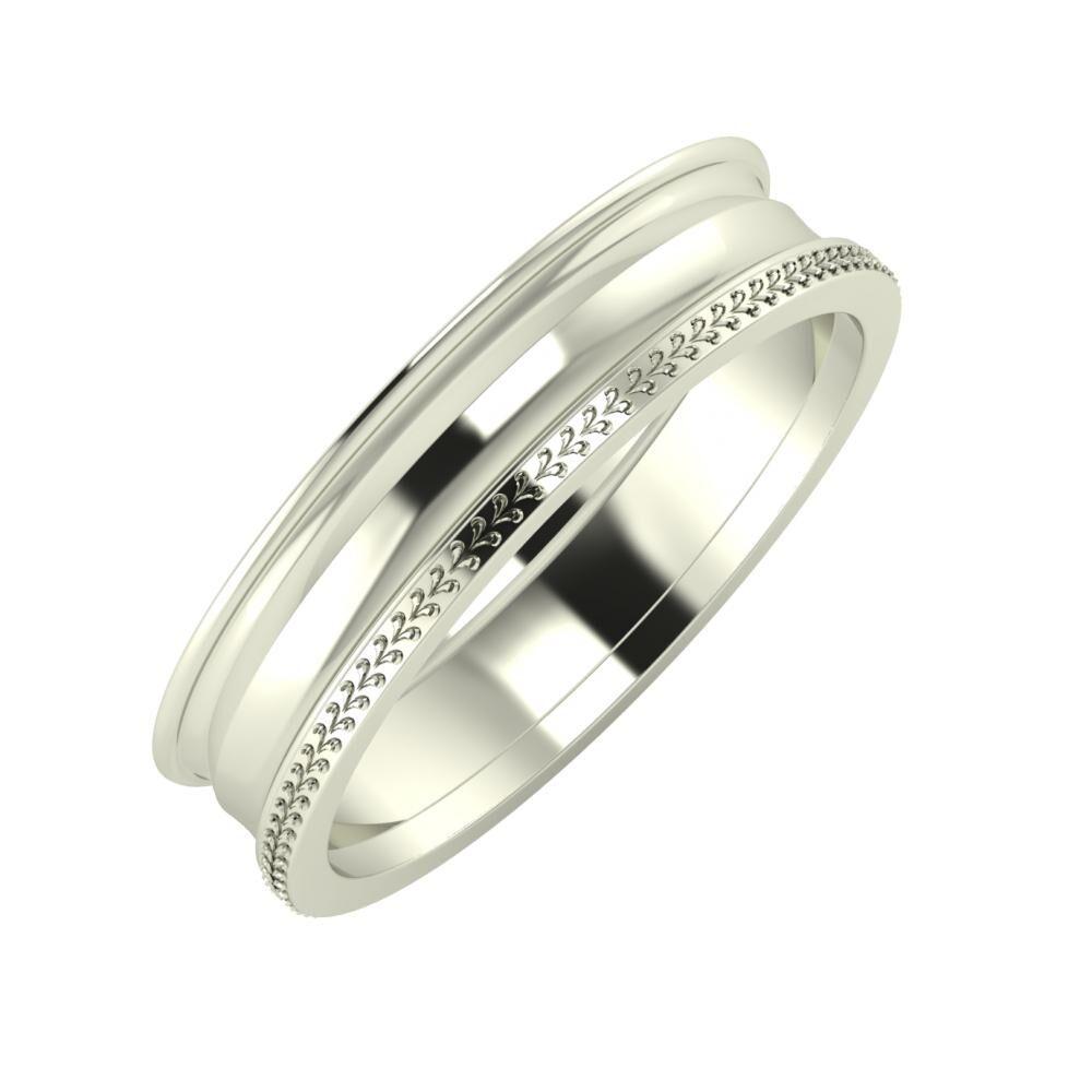 Agrippína - Ainó - Aglája 5mm 18 karátos fehér arany karikagyűrű