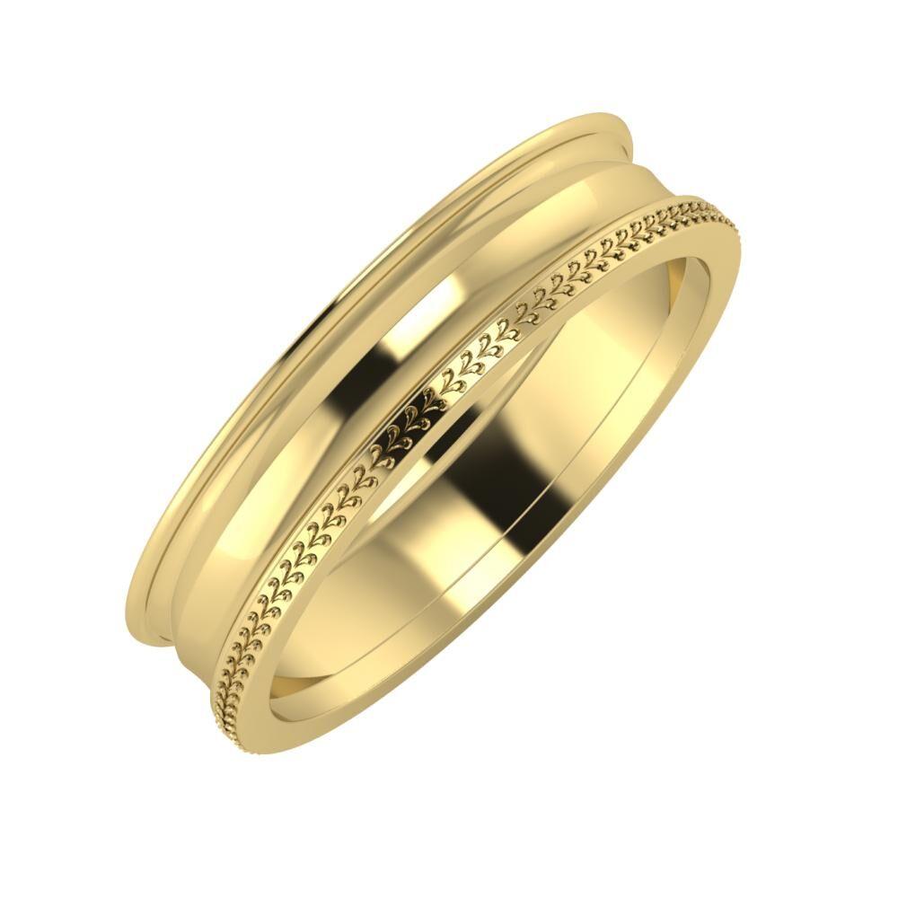 Agrippína - Ainó - Aglája 5mm 14 karátos sárga arany karikagyűrű