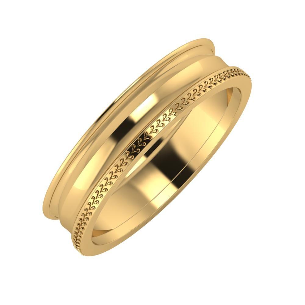Agrippína - Ainó - Aglája 5mm 22 karátos sárga arany karikagyűrű