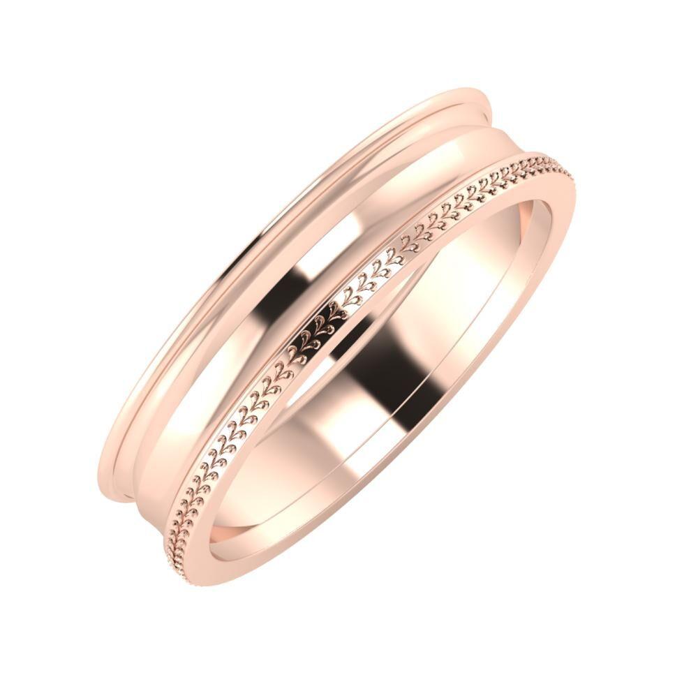 Agrippína - Ainó - Aglája 5mm 18 karátos rosé arany karikagyűrű
