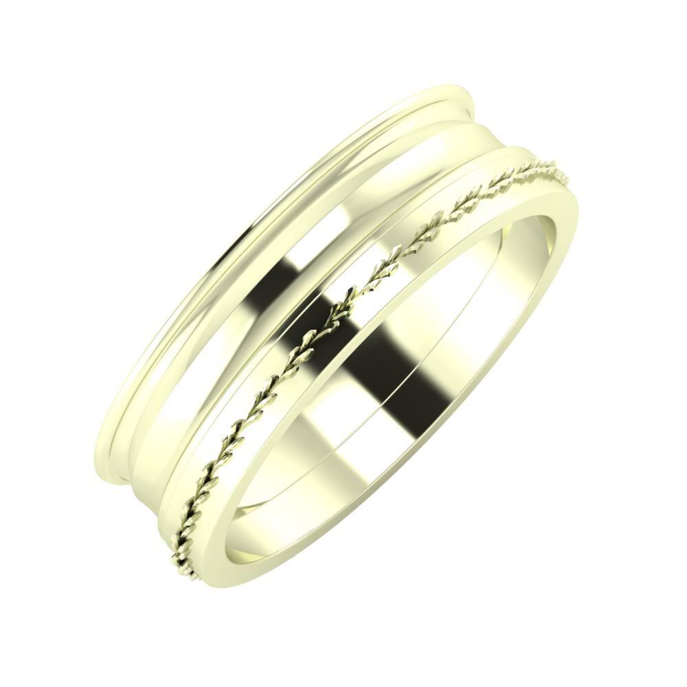 Agrippína - Ainó - Aglent 6mm 22 karátos fehér arany karikagyűrű