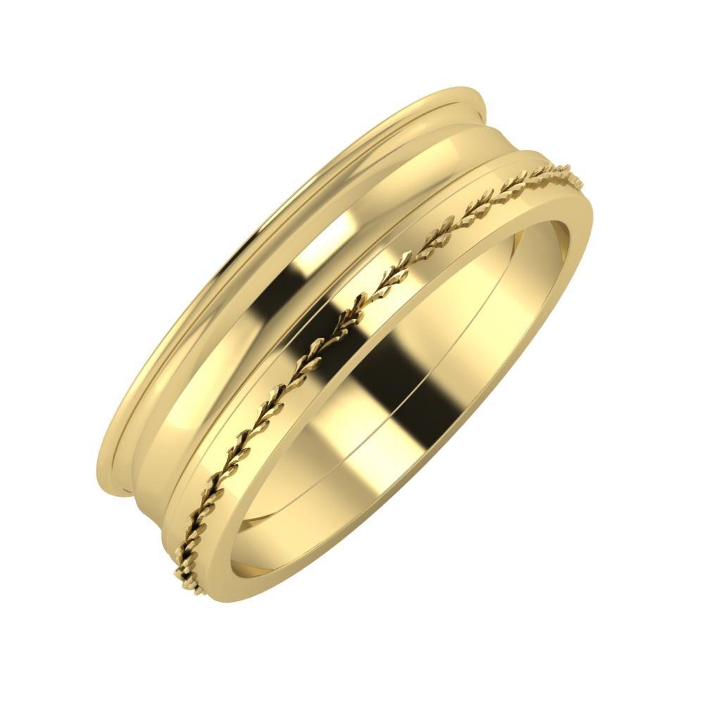 Agrippína - Ainó - Aglent 6mm 14 karátos sárga arany karikagyűrű