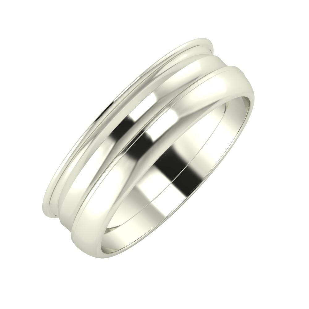 Agrippína - Ainó - Ágosta 6mm 14 karátos fehér arany karikagyűrű