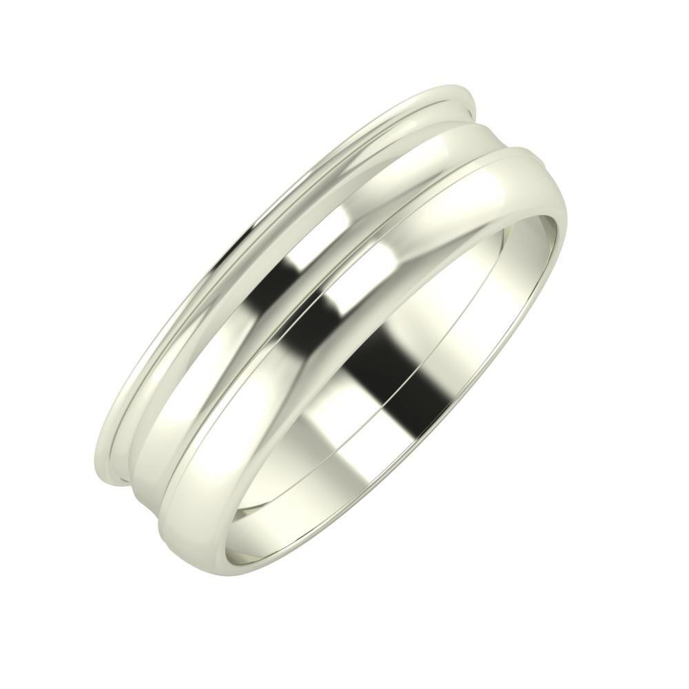 Agrippína - Ainó - Ágosta 6mm 18 karátos fehér arany karikagyűrű
