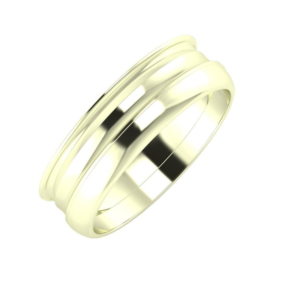 Agrippína - Ainó - Ágosta 6mm 22 karátos fehér arany karikagyűrű