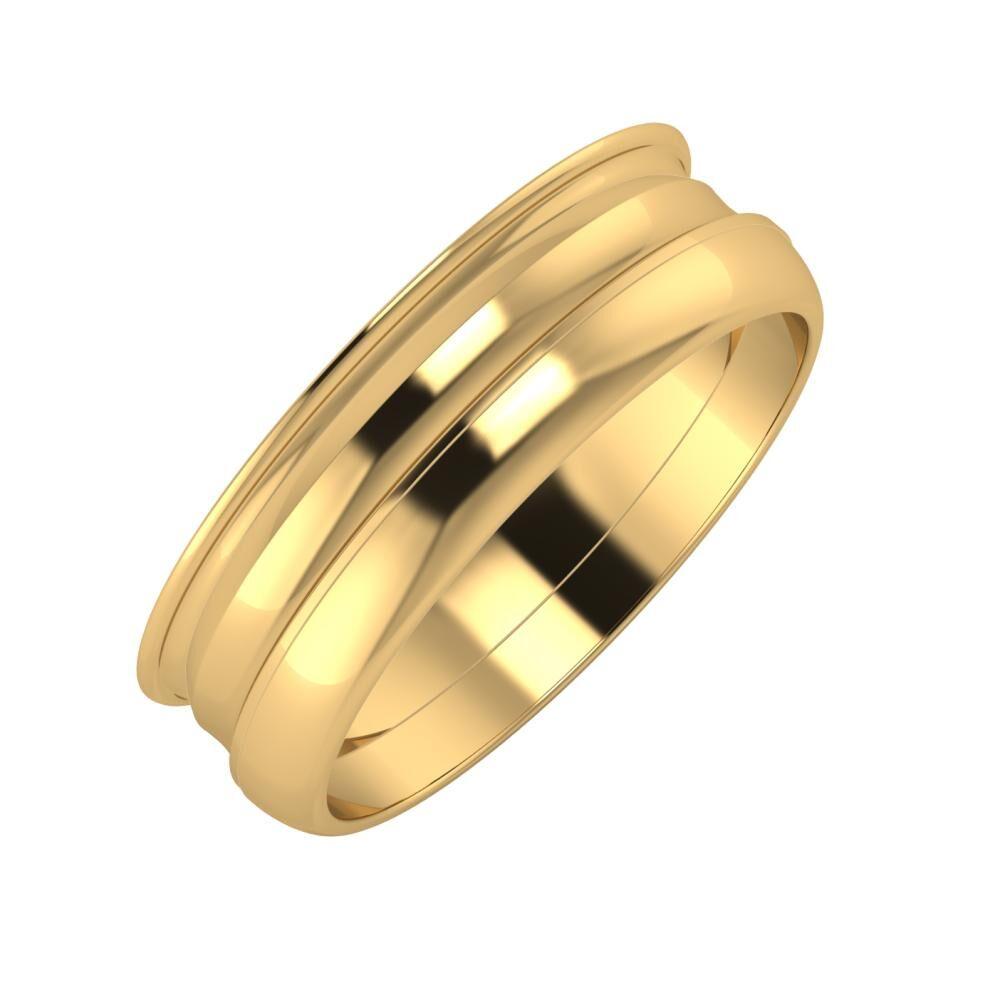 Agrippína - Ainó - Ágosta 6mm 22 karátos sárga arany karikagyűrű