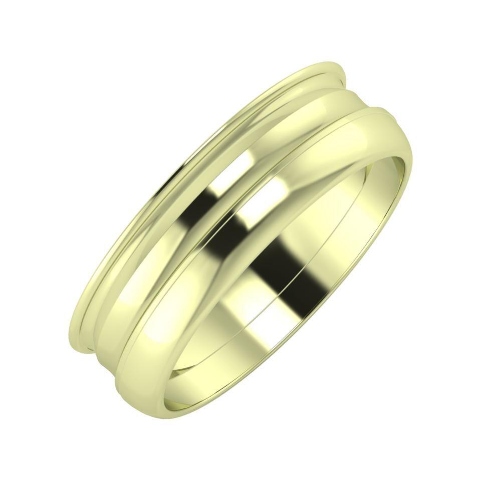 Agrippína - Ainó - Ágosta 6mm 14 karátos zöld arany karikagyűrű