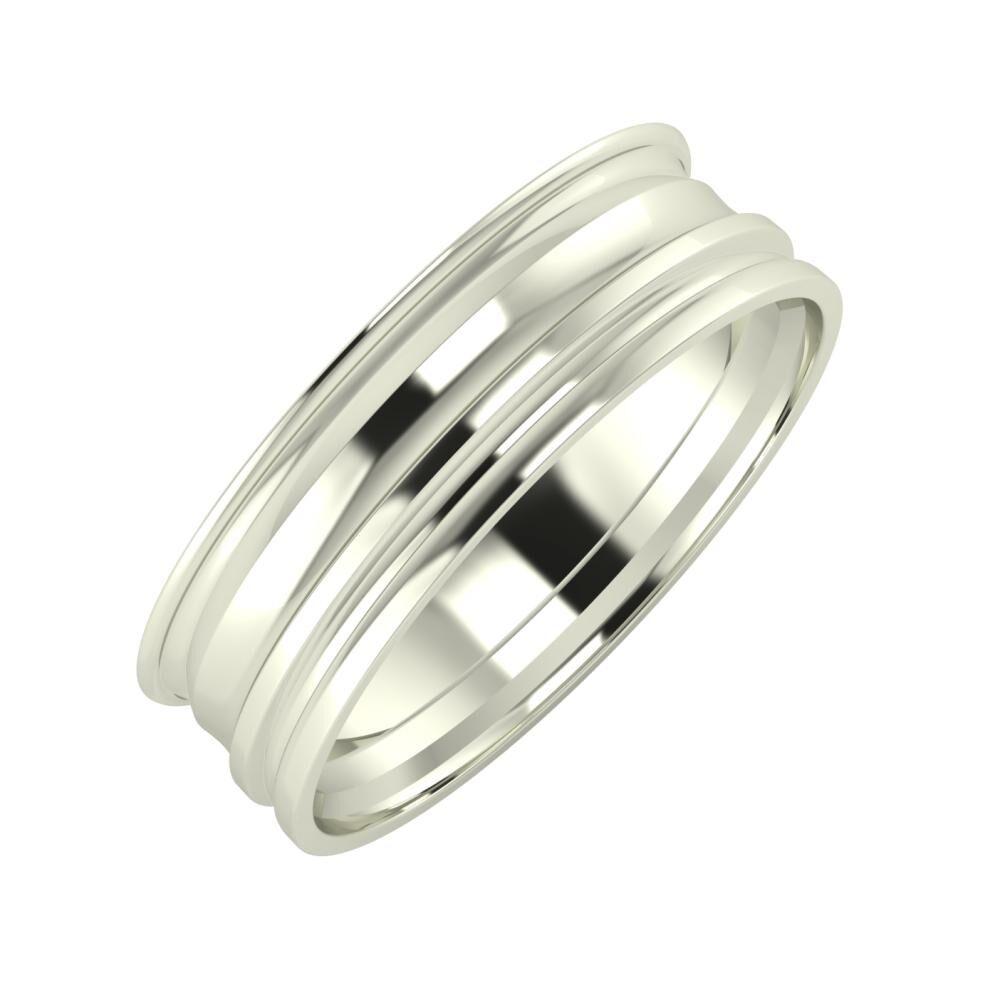 Agrippína - Ainó - Aida 6mm 14 karátos fehér arany karikagyűrű
