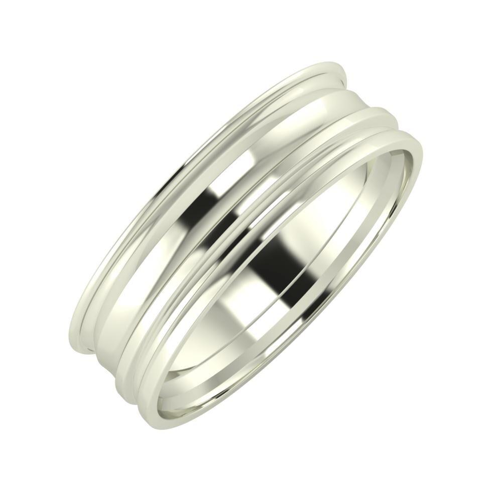 Agrippína - Ainó - Aida 6mm 18 karátos fehér arany karikagyűrű