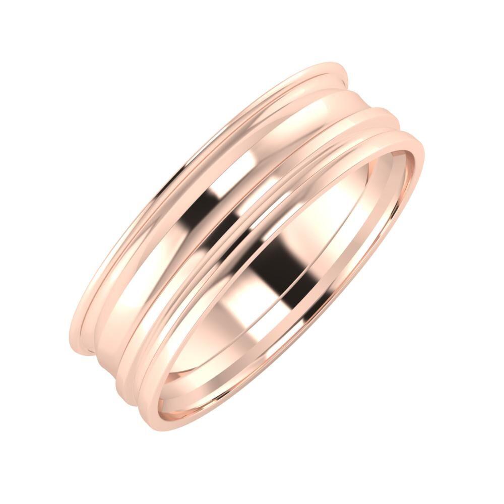 Agrippína - Ainó - Aida 6mm 14 karátos rosé arany karikagyűrű