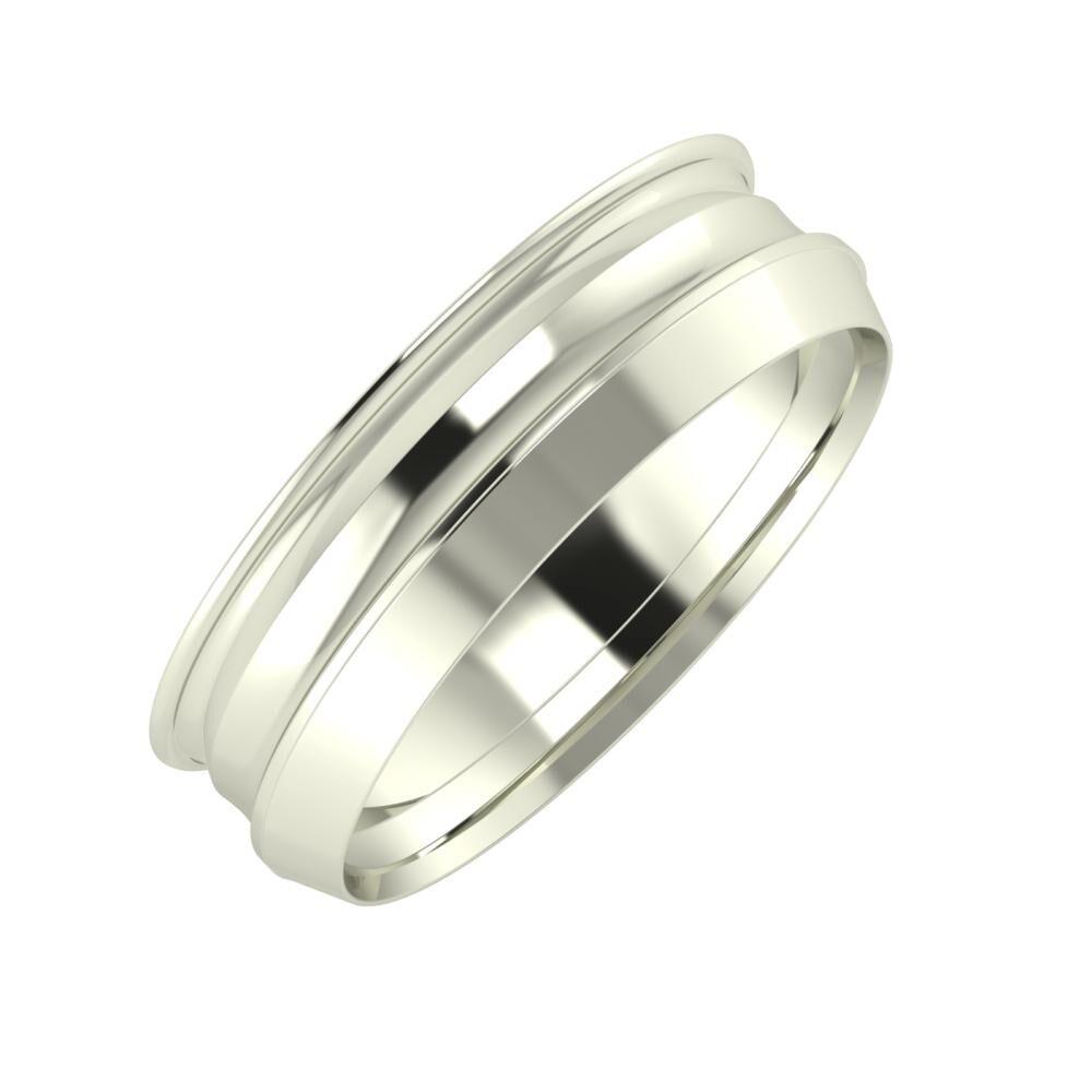 Agrippína - Ainó - Aisah 6mm 14 karátos fehér arany karikagyűrű