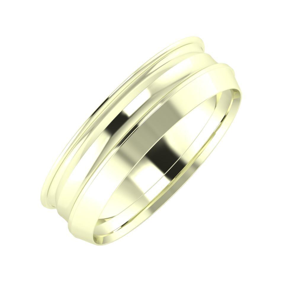 Agrippína - Ainó - Aisah 6mm 22 karátos fehér arany karikagyűrű