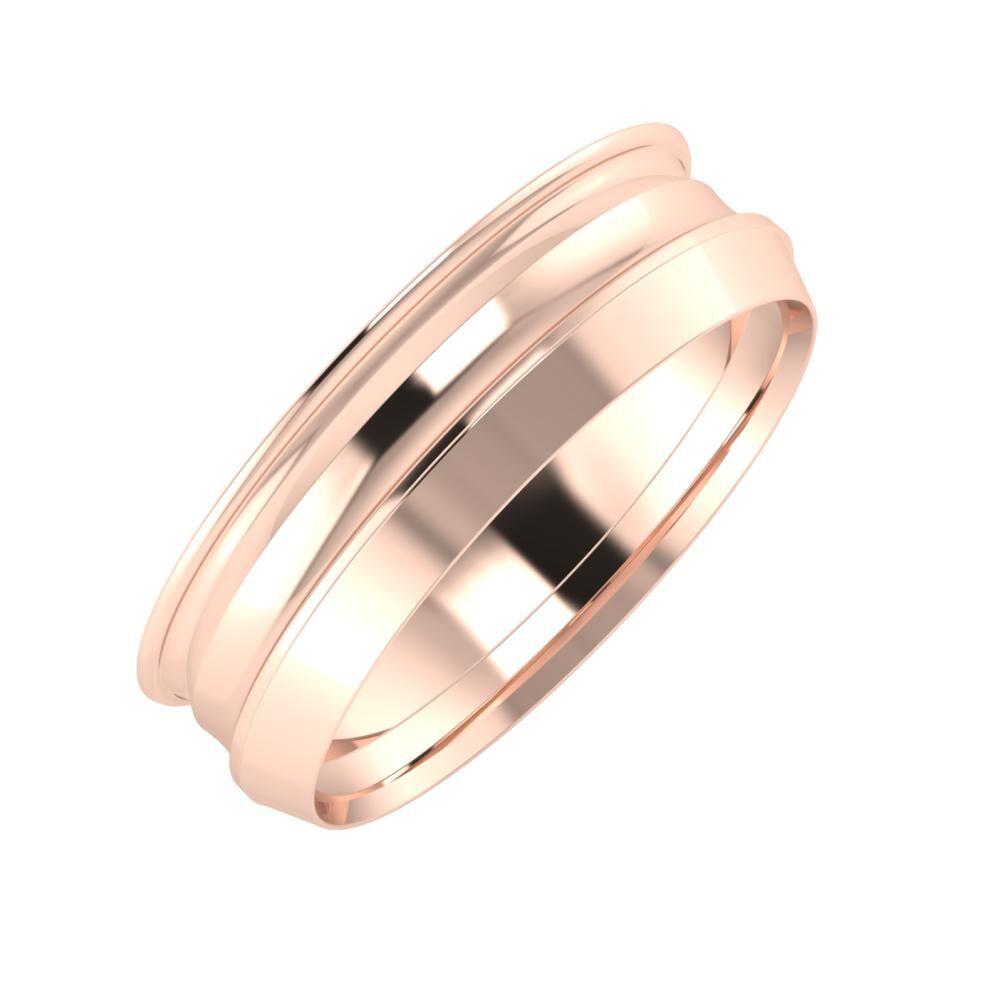 Agrippína - Ainó - Aisah 6mm 14 karátos rosé arany karikagyűrű