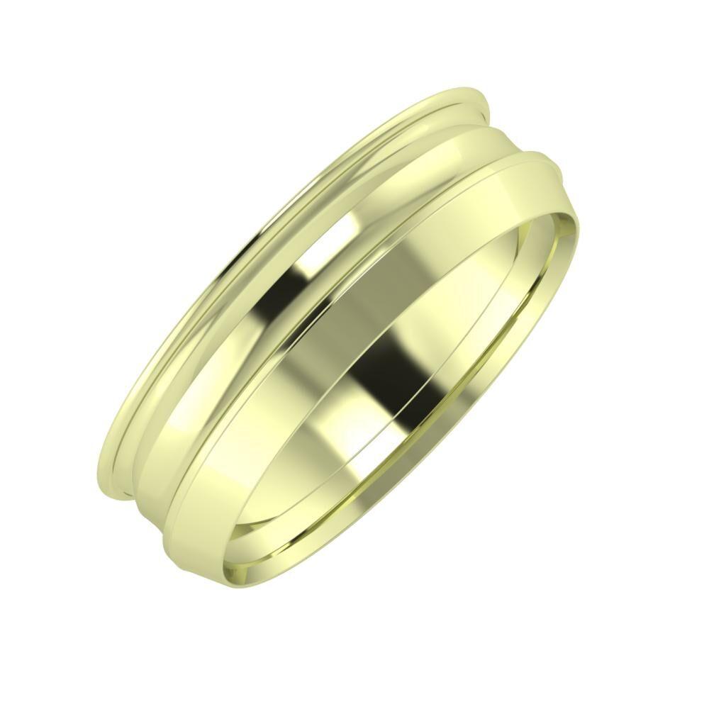 Agrippína - Ainó - Aisah 6mm 14 karátos zöld arany karikagyűrű