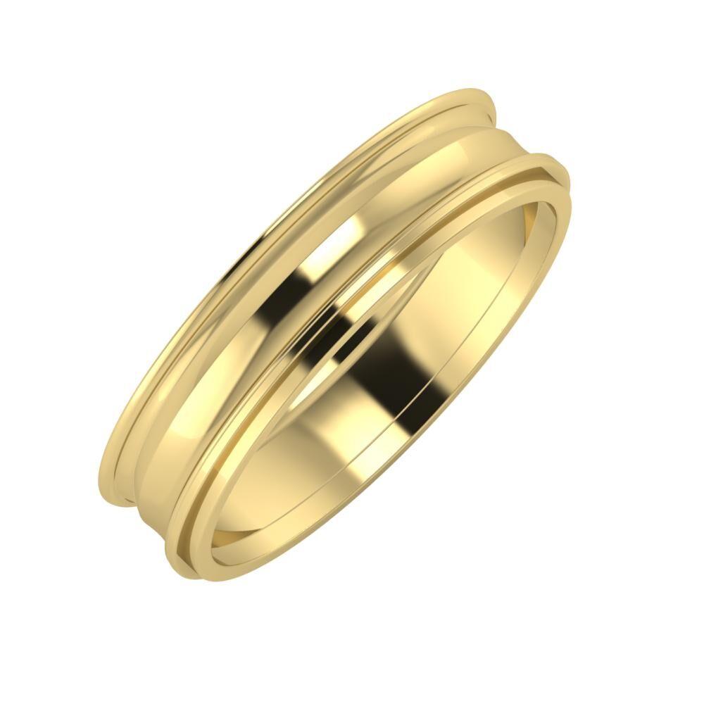 Agrippína - Ainó - Ájlin 5mm 14 karátos sárga arany karikagyűrű