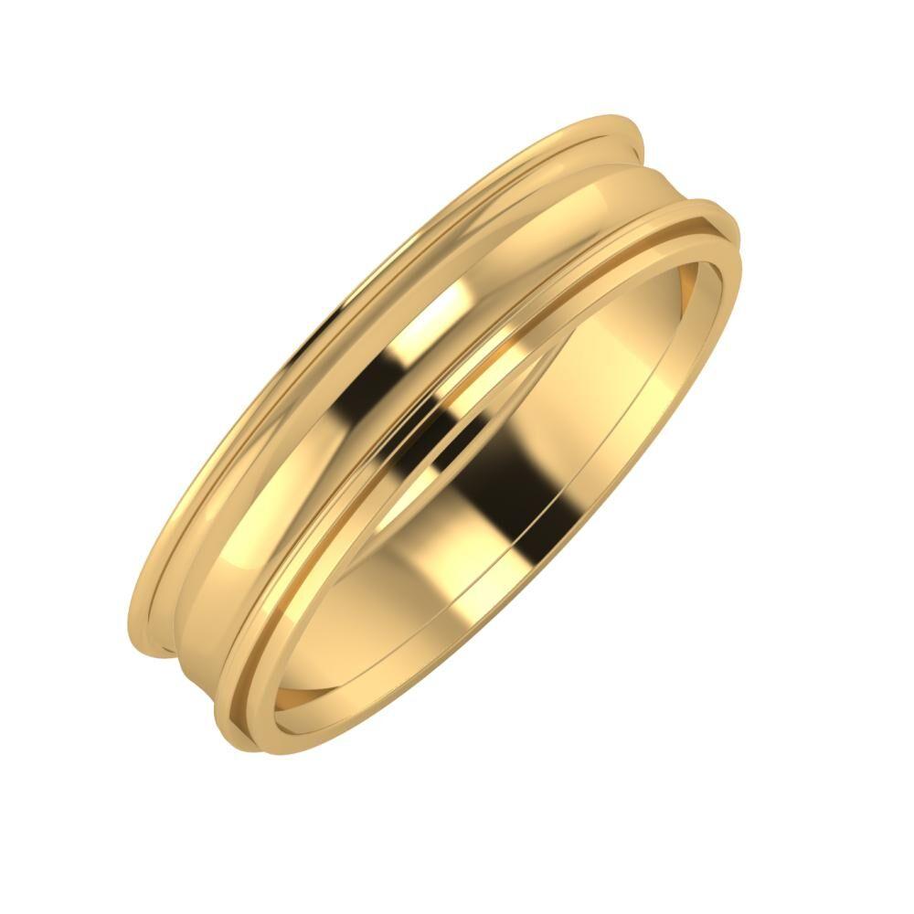 Agrippína - Ainó - Ájlin 5mm 18 karátos sárga arany karikagyűrű