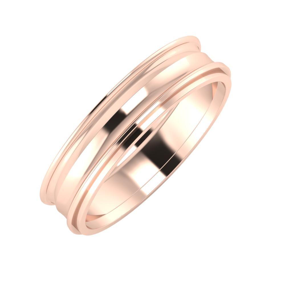 Agrippína - Ainó - Ájlin 5mm 14 karátos rosé arany karikagyűrű