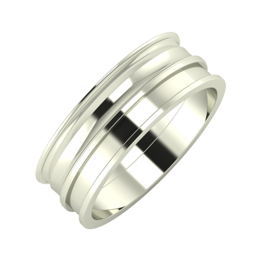 Agrippína - Ainó - Ajnácska 7mm 18 karátos fehér arany karikagyűrű