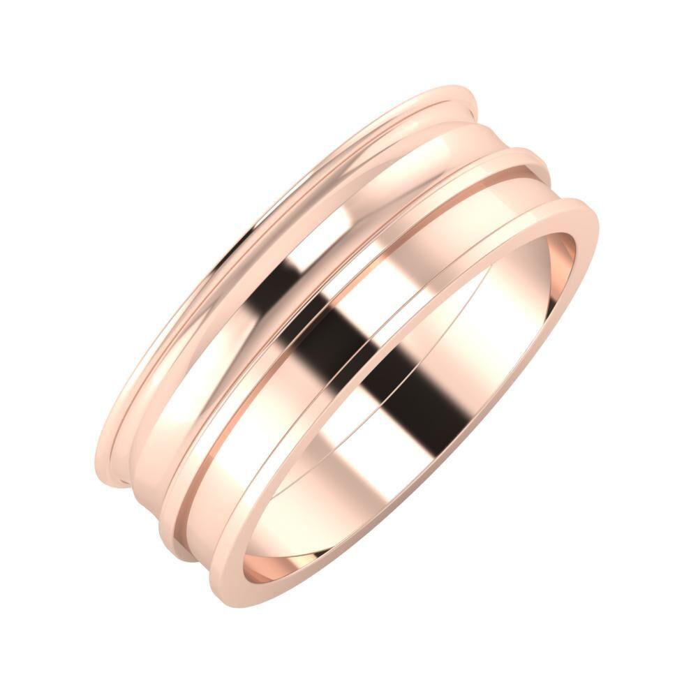 Agrippína - Ainó - Ajnácska 7mm 18 karátos rosé arany karikagyűrű