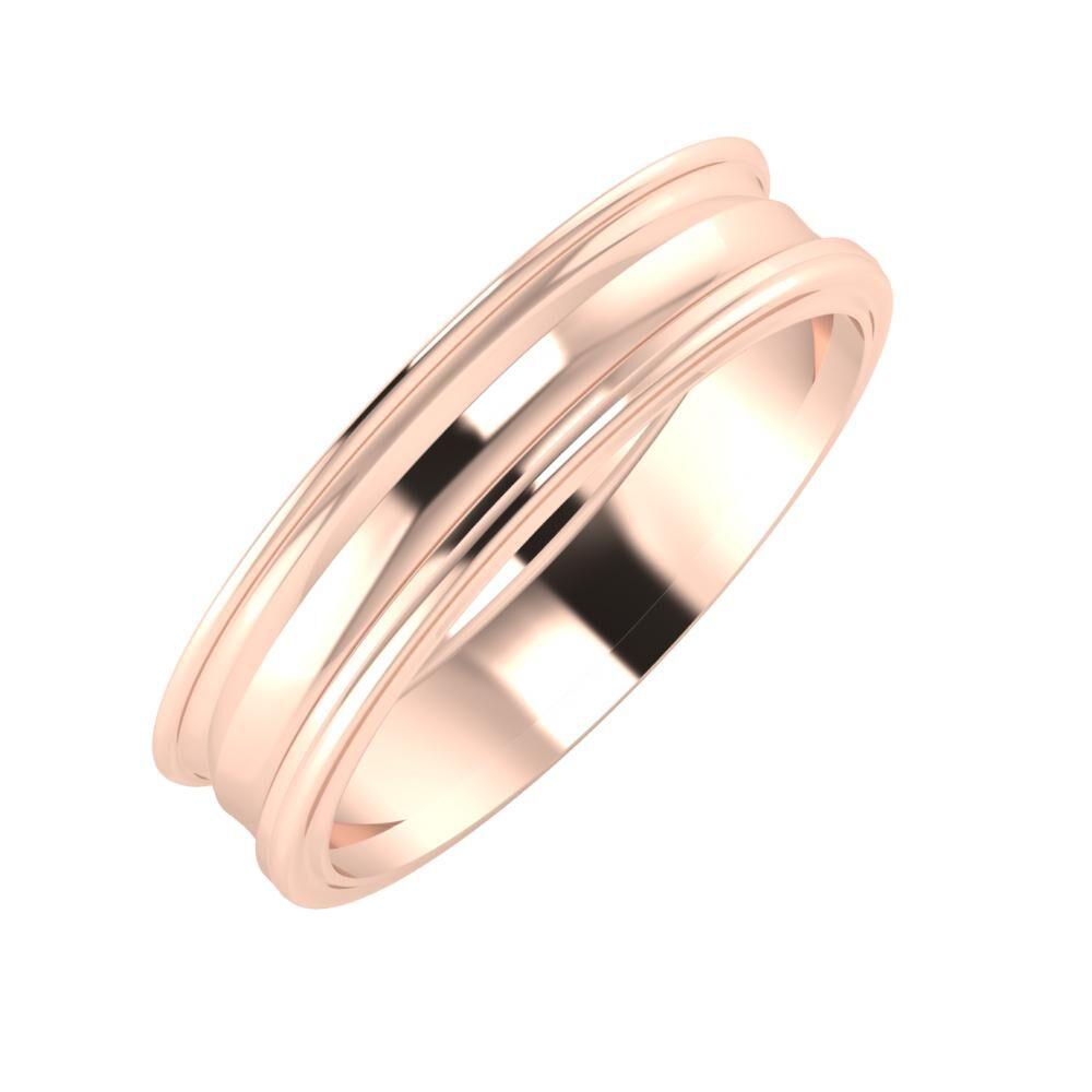 Agrippína - Ainó - Ajra 5mm 14 karátos rosé arany karikagyűrű