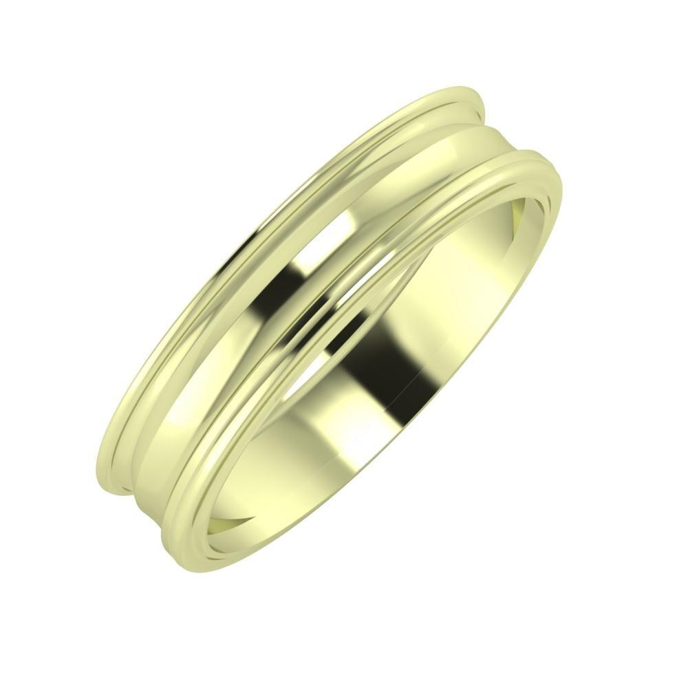 Agrippína - Ainó - Ajra 5mm 14 karátos zöld arany karikagyűrű