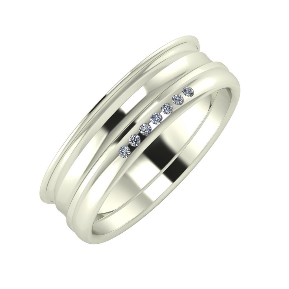 Agrippína - Ainó - Albertina 6mm 18 karátos fehér arany karikagyűrű