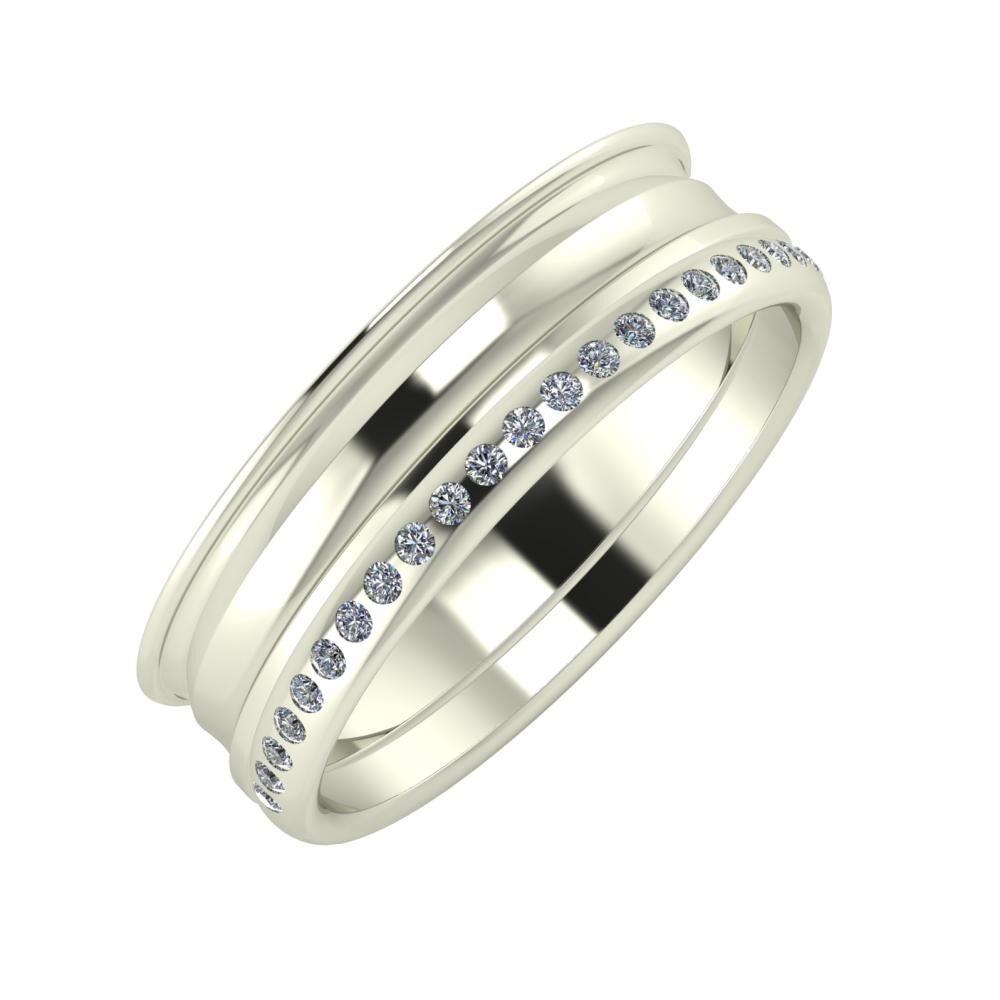 Agrippína - Ainó - Aldea 6mm 18 karátos fehér arany karikagyűrű