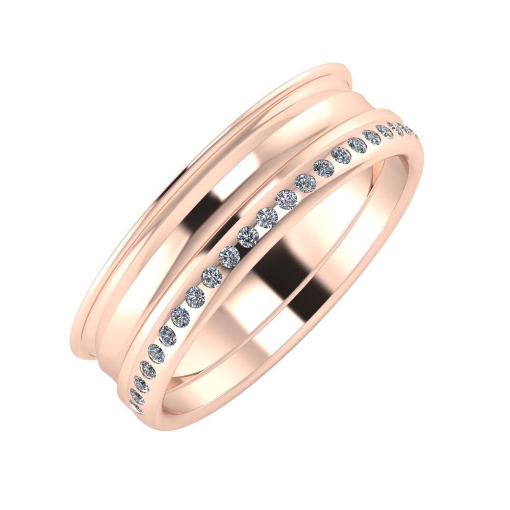 Agrippína - Ainó - Aldea 6mm 14 karátos rosé arany karikagyűrű