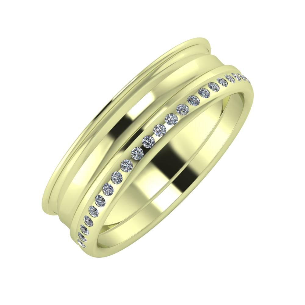 Agrippína - Ainó - Aldea 6mm 14 karátos zöld arany karikagyűrű